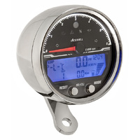 Acewell 4353CP LCD Digital Speedometer wih Polished Chrome Housing and Traditional Style Tacho - 6000rpm max