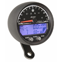 Acewell 4553AB LCD Digital Speedometer with Black Anodised Housing and Traditional Style Tacho - 12000rpm max