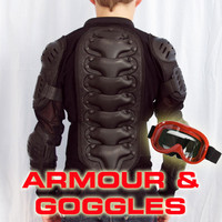 Child Kids Body Armour Size 10 + Goggles for Motocross Dirt Bike BMX Snowboard