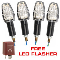4x LED Indicators & LED Flasher Relay Motorcycle Motorbike Clear Lens Blinkers