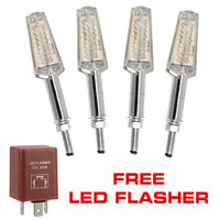 4x Blade Chrome Metal LED Motorcycle Indicators and Free LED Flasher (INDBLD x 2, LEDFSH x 1)