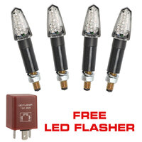 4x Dart LED Motorycle Motorbike Indicators and Free LED Flasher ADR Approved
