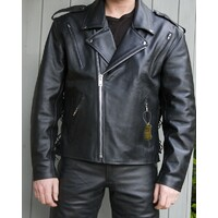 Mens Brando Cruiser Biker Motorcycle Leather Jacket L