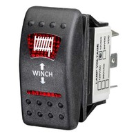 Sealed On/Off/On Rocker Switch with Red LED Winch