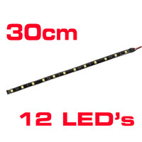 30cm Flexible 12 x LED Strip Light Interior Lamp Car Truck Boat Caravan RV BLACK
