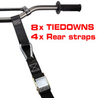 8x Tiedowns Tie Down 4x FREE Rear Straps Motorbike Motorcycle MX Dirt Bike