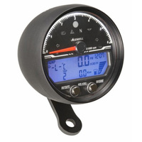 Acewell 4353AB LCD Digital Speedometer with Black Anodised Housing and Traditional Style Tacho - 6000rpm max