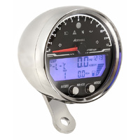 Acewell Digital Speedometer with Analogue Tacho to 12000rpm. Polished Chrome Housing