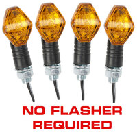 4x Tiny black indicators, diamond shaped, 21W halogen (2x IND21D)