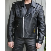 Mens Brando Cruiser Biker Motorcycle Leather Jacket (M)