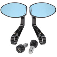 Motorcycle Bar End Mirror Set - Blue Glare resistant